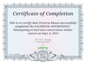My Certificate for Facebook Retargeting Advertising