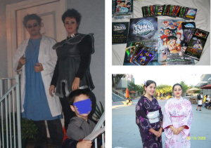 me dressed up as a Klingon with my mad scientist brother (he's not in costume), my YYH collection and me in my geisha costume
